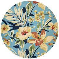 Couristan Covington Whimsical Garden Powder Blue-Multi Indoor/Outdoor Round Rug - 7'10 x 7'10