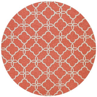 """Couristan Covington Meadowlark Punch/Ivory Round Outdoor Area Rug - 7'10"""" x 7'10"""""""