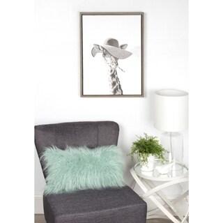 DesignOvation Simon Te Tai 'Sylvie Sarifa Giraffe Black and White Portrait' Framed Canvas Wall Art