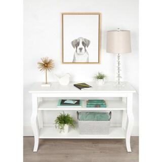 DesignOvation Simon Te Tai Sylvie Boxer Puppy Black and White Portrait Natural Framed Canvas Wall Art