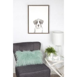 DesignOvation Simon Te Tai 'Sylvie Boxer Puppy' Black/White Framed Canvas Wall Art