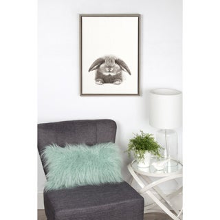 DesignOvation Simon Te Tai's 'Sylvie Rabbit' Black/White Framed Canvas Wall Art