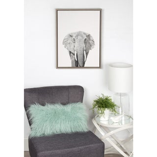 Simon Te Tai DesignOvation 'Sylvie Elephant' Canvas Wall Art with Grey Frame