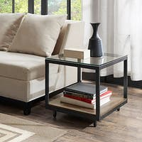 Madison Park Leo Brass/ Reclaimed Grey End Table