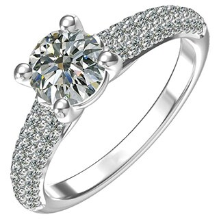 Sterling-silver One 1-ct. Round Center and 62 1/2-ct. Side Cubic Zirconia Classic Engagement Ring