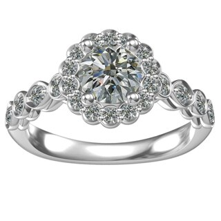 Sterling Silver Cubic Zirconia Classic Flower Engagement Ring