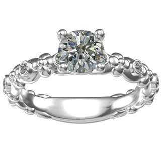 Sterling Silver 1-carat Center and 6, 0.09-carat Side Cubic Zirconia Engagement Ring