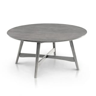 Furniture of America Oliver Mid-century Modern Round Ash Brown Coffee Table