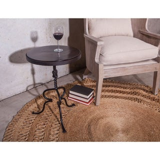 Industrial Reclaimed Neem Wood and Iron Scroll Accent Table