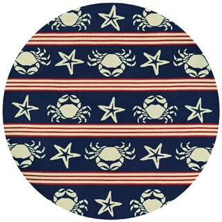 Outdoor Escape Blue Claws Red-White-Navy Round Indoor/Outdoor Rug - 7'10 x 7'10