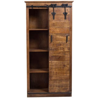 Wanderloot Barn Door Bookcase with Four Shelves, Sliding Half Door and Cast Iron Accents