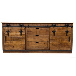 Wanderloot Barn Door Sideboard with 3 Drawers 2 Sliding Doors and Cast Iron Accents