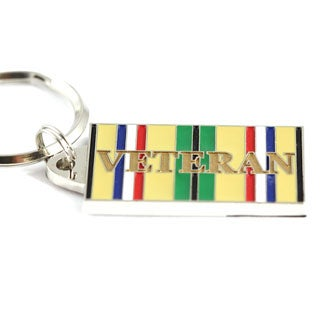 Desert Storm Veteran Multicolored Stainless Steel Keyring