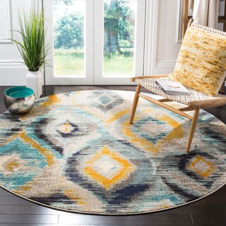 Safavieh Monaco Vintage Watercolor Blue/ Multicolored Distressed Rug (6' 7 Round)