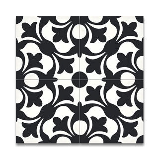 Sefrou Black and White Handmade Cement Moroccan Tiles (pack of 12) (Morocco)