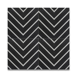 Amlil Black and White Handmade Cement Moroccan Tiles (Morocco) (Pack of 12)