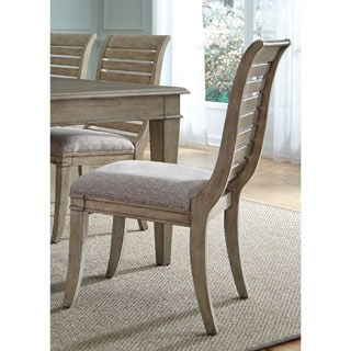 Greyton Grove Driftwood Slat Back Upholstered Side Chair