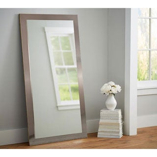 American Value Nickel-finished 32 x 65.5-inch Tall Vanity Wall Mirror - Silver