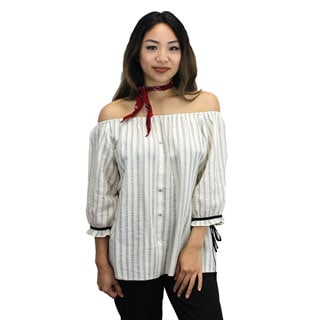 Relished Women's Off-the-Shoulder Striped Blouse