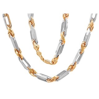Sterling Essentials 14K Two-tone Gold 9 mm Diamond-cut Figaro-Rope Chain Necklace (28-24 Inch ) - Yellow