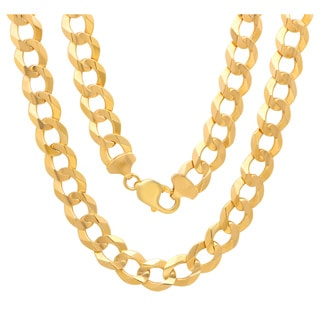 Sterling Essentials 14K Gold 12 mm Beveled Curb Canal Chain 30 Inch