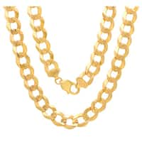 Roberto Martinez 14K Gold 12 mm Beveled Curb Canal Chain (24-30 Inch) - Yellow