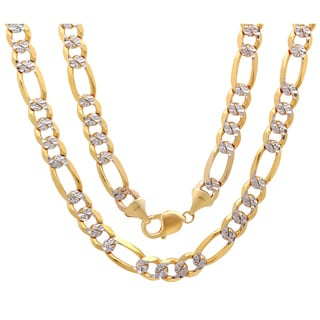 Sterling Essentials 14K Two-tone Gold 10 mm Diamond-cut Pave Figaro Chain Necklace (24-30 Inch ) - Yellow
