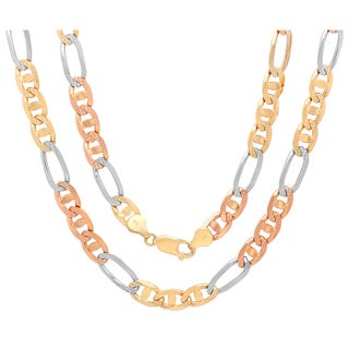 Sterling Essentials 14K Tri-color Gold 7 mm Diamond-cut Marina Figaro Chain Necklace ( 20- 30 Inch ) - Yellow