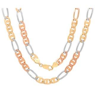 Sterling Essentials 14K Tri-color Gold 7 mm Diamond-cut Marina Figaro Chain Necklace ( 20- 30 Inch )