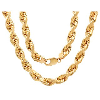 Sterling Essentials 14K Gold 12 mm Diamond-cut Rope Chain Necklace (30-24 Inch ) - Yellow