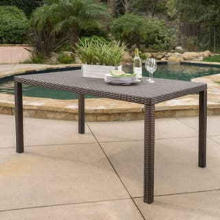 Rhode Island Outdoor Wicker Rectangular Dining Table Only By Christopher Knight Home