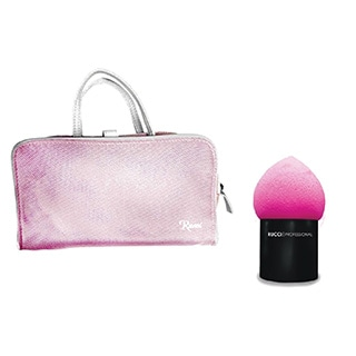 Rucci Pink Cosmetic Bag with Pink Contour Sponge Blender