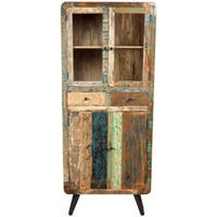 Handmade Wanderloot Route 66 Reclaimed Wood Mid-century Modern Tall Curio Display Cabinet with 2 Drawers, 4 Doors (India)