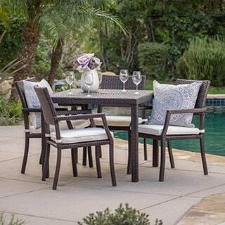 Rhode Island Outdoor 5 Piece Wicker Rectangular Dining Set By Christopher Knight Home
