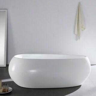 Maykke Castile 71-inch White Acrylic Oval Freestanding Bathtub
