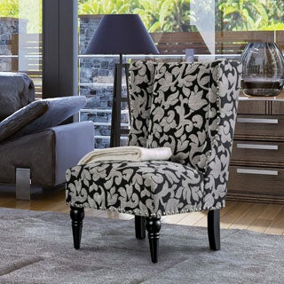 Furniture of America Davenwood Contemporary Floral Print Chenille Black/Grey Wingback Accent Chair