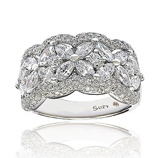 Suzy Levian Sterling Silver White Cubic Zirconia Flower Ring