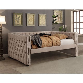 Furniture of America Bailey Contemporary Tufted Nailhead Ivory Linen-like Daybed