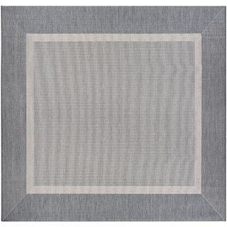 Recife Stria Texture Champagne Grey Indoor/Outdoor Square Rug - 8'6 x 8'6
