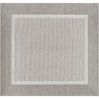 Recife Stria Texture Champagne-Taupe Indoor/Outdoor Square Rug - 7'6 x 7'6