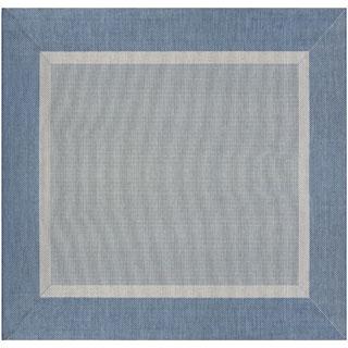 Couristan Recife Stria Blue Polypropylene Area Rug (7'6 x 7'6)
