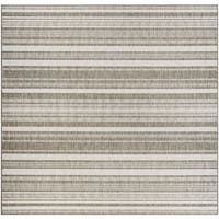 Couristan Recife Gazebo Stripe/Champagne-Taupe Indoor/Outdoor Square Rug - 8'6 x 8'6