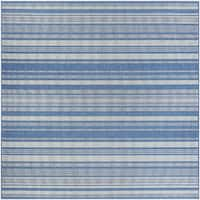 "Couristan Recife Gazebo Stripe Champagne-Blue Indoor/Outdoor Square Rug - 8'6"" x 8'6"""