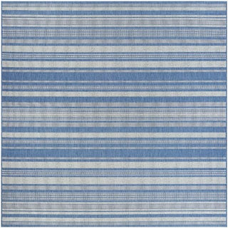 Recife Gazebo Stripe Champagne Blue Indoor/Outdoor Square Rug - 7'6 x 7'6