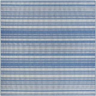 Couristan Recife Gazebo Stripe/Champagne Blue Square Area Rug (7'6 x 7'6)