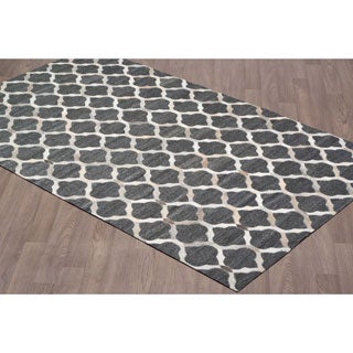 Handmade Leather/Viscose Charcoal Grey Rug