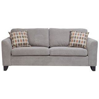 Porter Brighton Light Grey Textured Microfiber Contemporary Sleeper Sofa with 2 Woven Accent Pillows