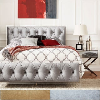 Anya Queen-size Velvet Button Tufted Acrylic Headboard and Bed by iNSPIRE Q Bold