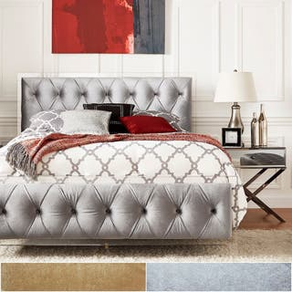 Anya Queen-size Velvet Button Tufted Acrylic Headboard and Bed by iNSPIRE Q Bold|https://ak1.ostkcdn.com/images/products/P20994614p.jpg?impolicy=medium