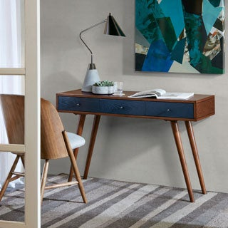 Madison Park Howard Pecan/ Blue 3 Drawer Writing Desk